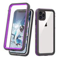 iPhone 11 Pro Full Body Waterproof Case,Heavy Duty Protective with Built-in Screen Protector Shockproof Rugged IP68 Certified Waterproof Cover for iPhone 11 Pro (5.8 inch 2019) (Clear&Purple)