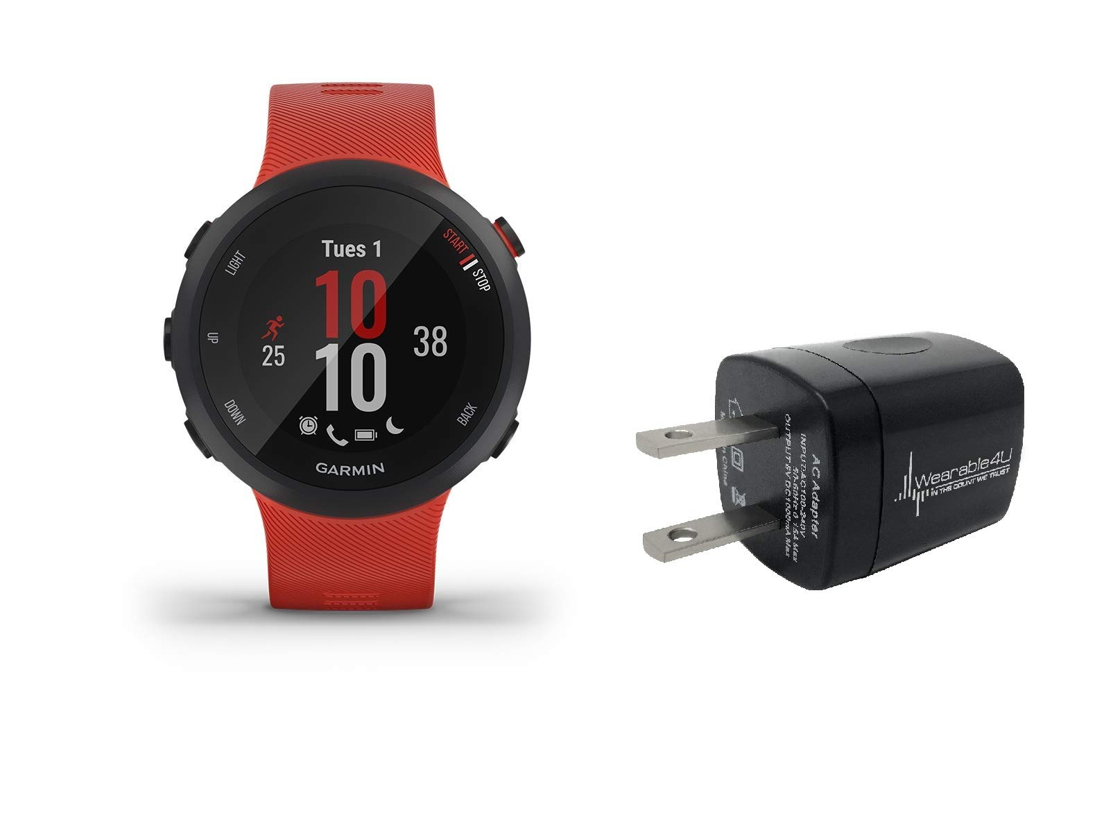 Garmin Forerunner 45 GPS Running Watch with Included Wearable4U Wall Charging Adapter Bundle (Lava Red (42mm Case))