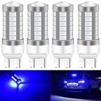 KATUR 4pcs 7443 7444NA 5630 33-SMD Blue 900 Lumens Super Bright LED Turn Tail Brake Stop Signal Light Lamp Bulb 12V 3.6W