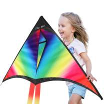 CLISPEED Rainbow Kite Easy to Fly Delta Kites for Kids Beach Park Outdoor Games Activities