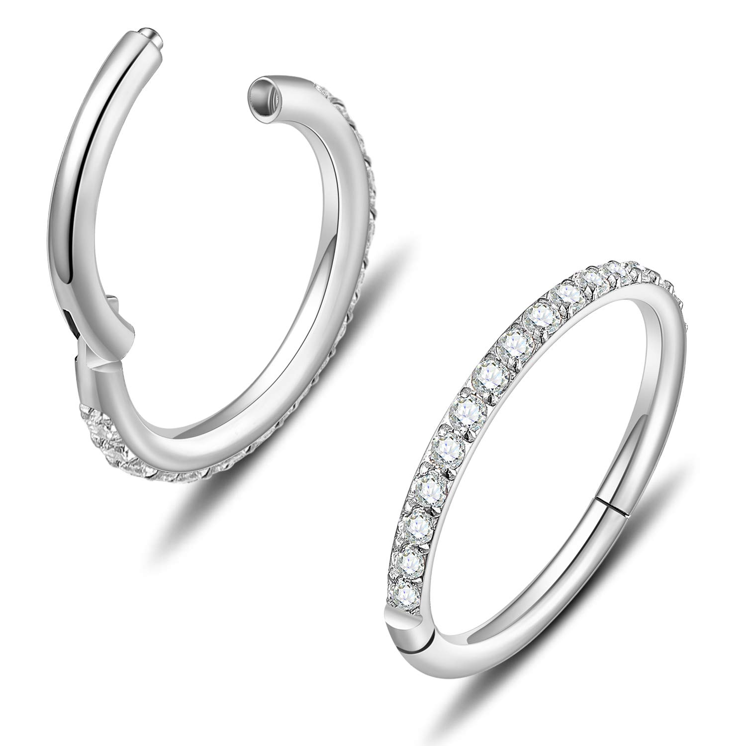 316L Surgical Steel 18G 16G CZ Cartilage Earring Hoop Septum Nose Rings Daith Helix Tragus Piercing Jewelry