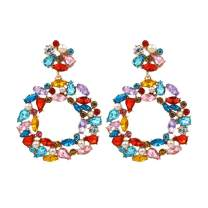 Sanvaree Statement Drop Earrings Gorgeous Colorful Crystal Gold Geometric-Shaped Dangle Earrings for Women Girls (Crystal & Pearl