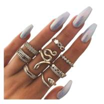 Barode Snake Joint Knuckle Rings Set Gold Multi Size Fashion Finger Ring Set Rhinestones Stackable Hand Jewelry for Women and Girls (8Pcs)