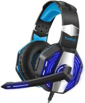 Kootop Stereo Gaming Headset for Xbox one,PS4 PC, Noise Cancelling Over Ear Headphones with Mic,Soft Earmuffs,Bass Surround,LED Light,for Laptop/Tablet/Phone(Black)