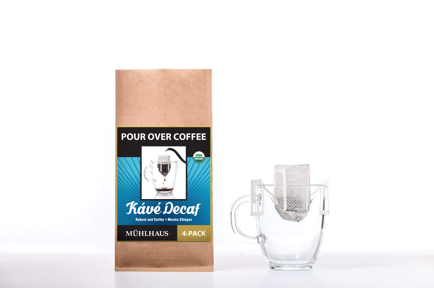 POUR OVER COFFEE, Kavé Decaf (Robust and Earthy, Mexico Chiapas), Worlds Most Advanced Portable Organic Coffee (8 Pack)