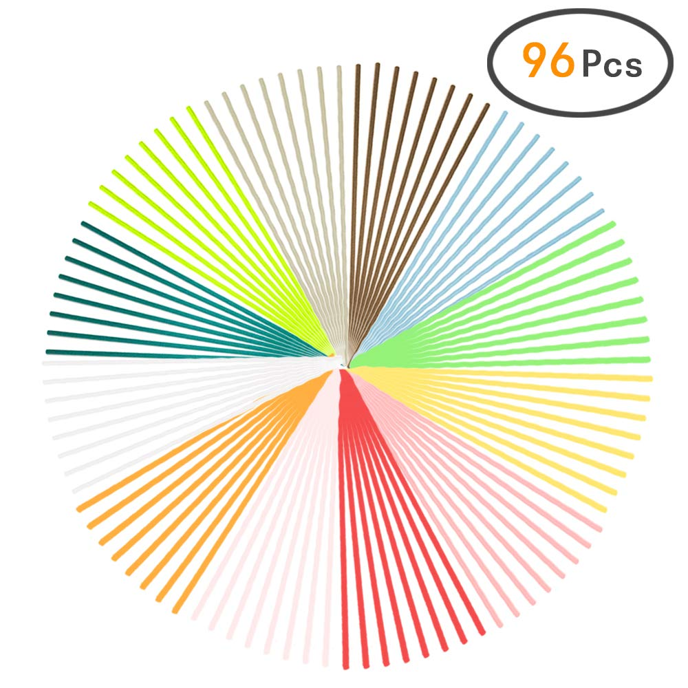 """HOSSIAN 96 Pieces Fiber Reed Diffuser Replacement Refill Sticks, Diffuser Refills, Spa, Aromatherapy (7.87"""" x 3mm, 12 Colour)"""
