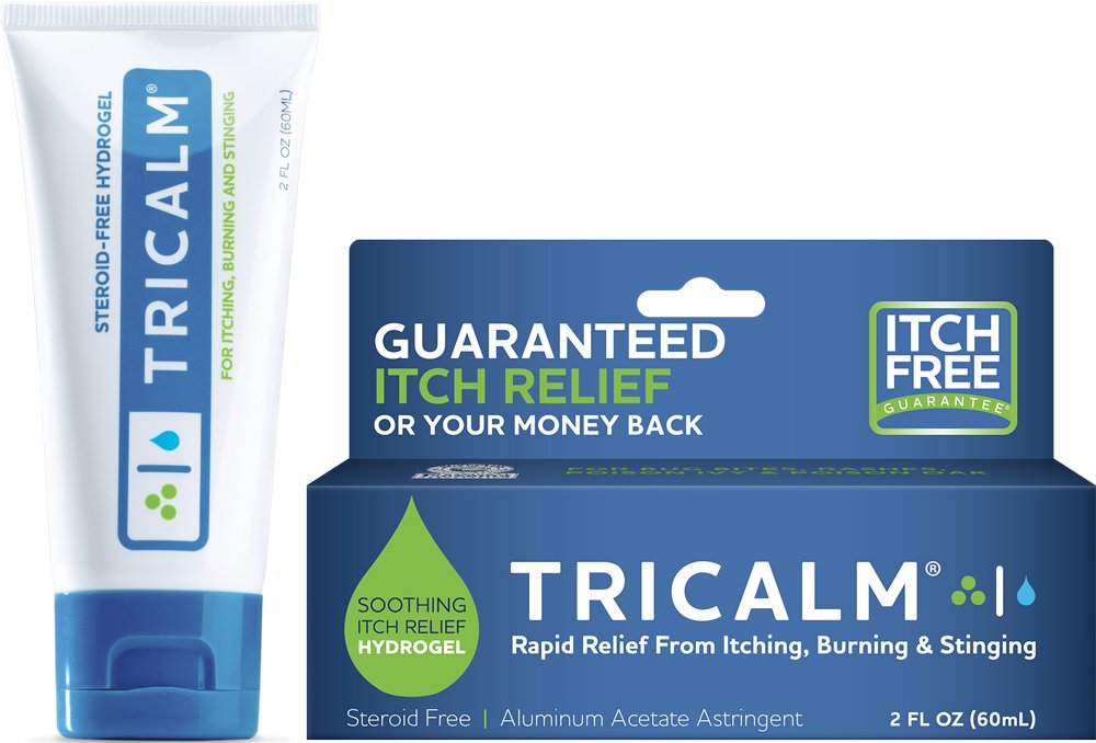 TriCalm Soothing Steroid-Free Anti-Itch Hydrogel for Bug Bites, Eczema, and More, Contains No Hydrocortisone, 2 Fluid Ounce