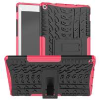 "Lantier Hybrid Armor Shockproof Impact Protection Tough Hard Rugged Heavy Duty Combo Dual Layer Protective Case with Kickstand for Amazon Fire HD 10 2019 10.1"" Tablet Rose"