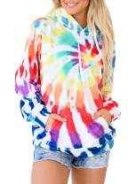 AlvaQ Women Long Sleeve Tie Dye Printed Hoodies Casual Loose Pullover Sweatshirt Tops