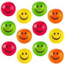 Kicko Colorful Smiley Face Stress Balls - Pack of 12 2.5 Inch Smile Squeeze Balls for Stress Relief, Stocking Stuffers, Educational Game, Room Decoration