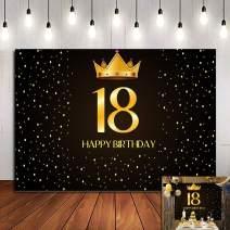 Fanghui Happy 18Th Birthday Photo Background Celebration Gold and Black Ceremony Vinyl 7x5ft Photography Backdrops Boy Girl Photo Booth Shoot Studio Props