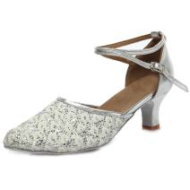 SWDZM Women's Sequined Latin Dance Shoes/Ballroom Party Salsa Dance Shoes Model-MF1802