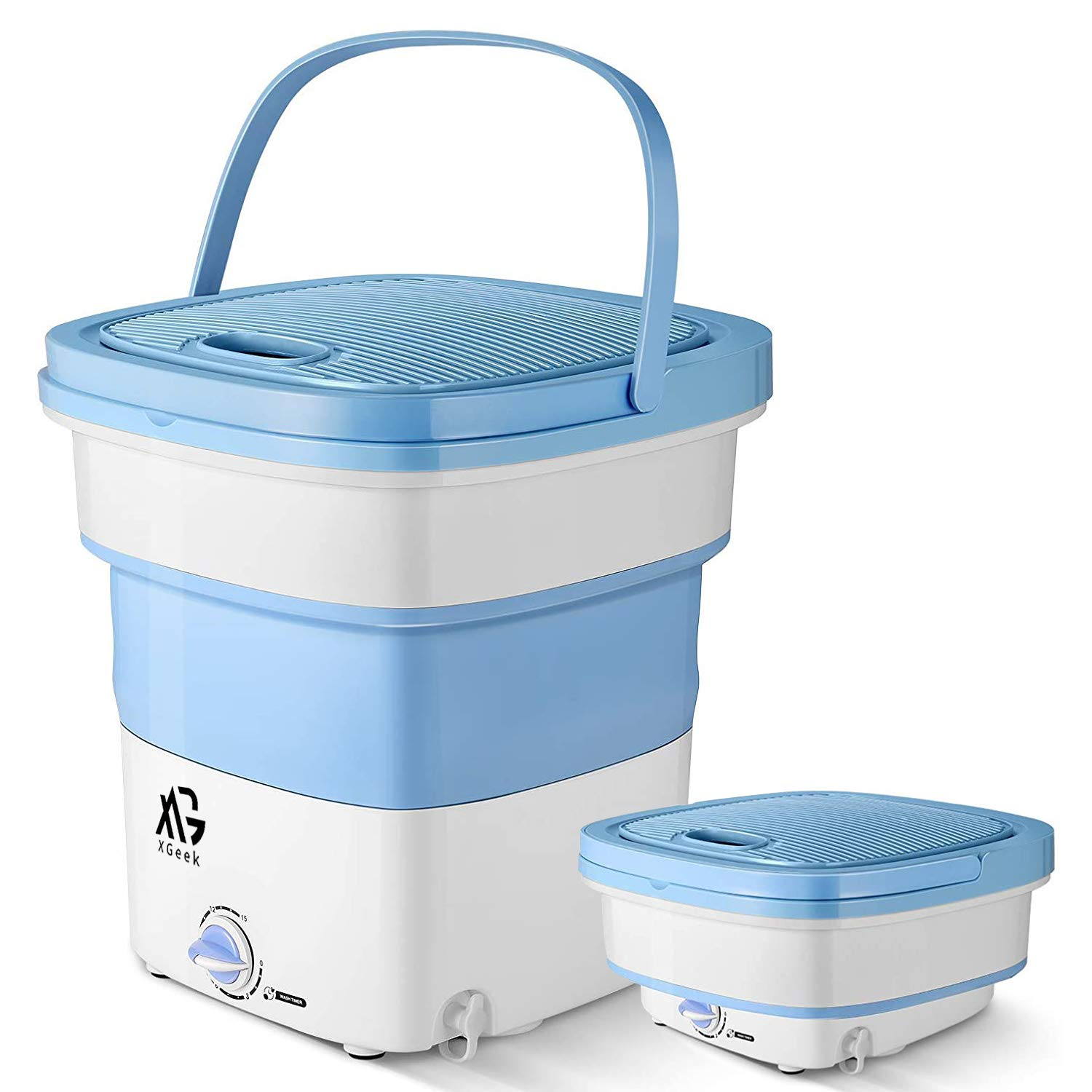 XGeek Folding Portable Mini Washing Machine Dc Portable Washer,Large Capacity 3.2 kgs,Timing Control,Disinfection Function,Washing Women And Child Underwear,19.5cm,Easy To Store And Carry