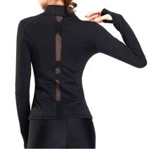 Women Lightweight Running Training Tummy Control Ruched Full Zip Mesh Compression Fit After Yoga Jacket