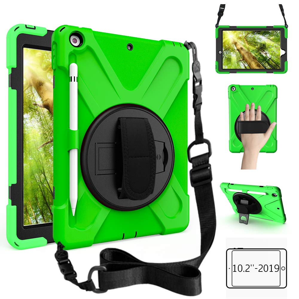 ZenRich New iPad 10.2 Case 2019, iPad 7th Generation Case with Pencil Holder, Rotatable Kickstand Hand Strap and Shoulder Strap, Shockproof Case for iPad 10.2 inch Tablet A2197/A2198/A2199/A2200-Green