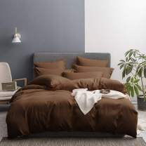 MerryfeelBedding Duvet Cover 3 Piece Set – Ultra Soft Brushed Microfiber Hotel Collection – Comforter Cover with Button Closure and 2 Pillow Shams,Chocolate -Full/Queen