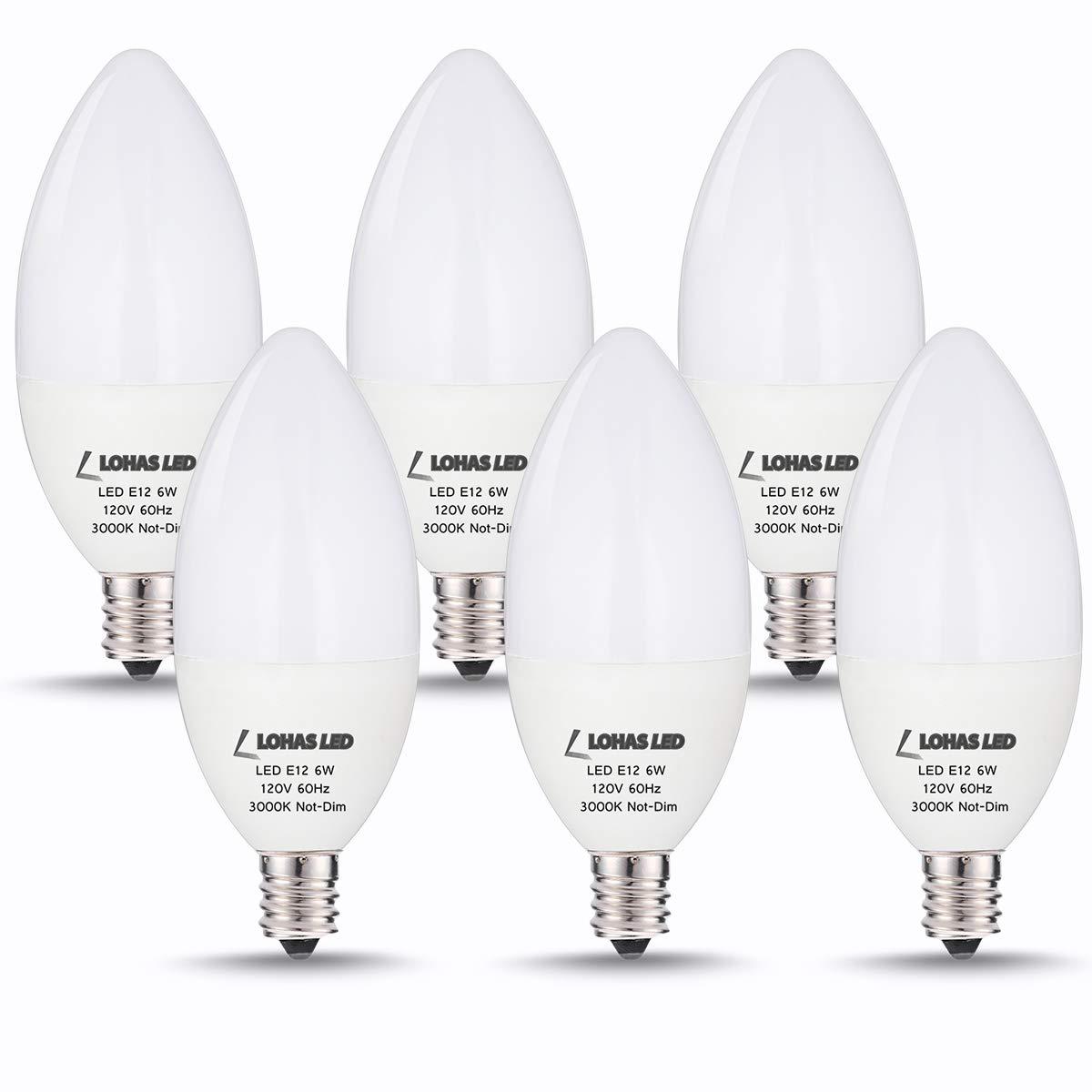 LOHAS E12 LED Bulbs for Ceiling Fan, 6Watt, Candelabra LED Bulbs 60W Equivalent Incandescent Bulb, E12 Candelabra Base, 550Lumen, Soft White 3000K for Chandelier Bulb, Non-dimmable, 6 Pack