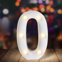 ODISTAR LED Light Up Marquee Letters, Battery Powered Sign Letter 26 Alphabet with Lights for Wedding Engagement Birthday Party Table Decoration bar Christmas Night Home,9'', White(0)