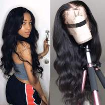 Lace Front Wigs Brazilian Body Wave Human Hair Wigs 18 inch 13x5 Lace Frontal Wigs Human Hair Pre Plucked Hairline With Baby Hair Unprocessed Virgin Natural Color 150% Density
