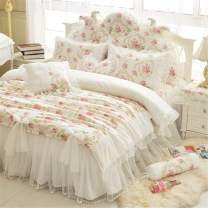 LELVA Girls Bedding Set Lace Ruffle Duvet Cover Sets with Bed Skirt Princess Bedding Set Vintage Floral Print Duvet Cover King Size 4 Piece (King, White)