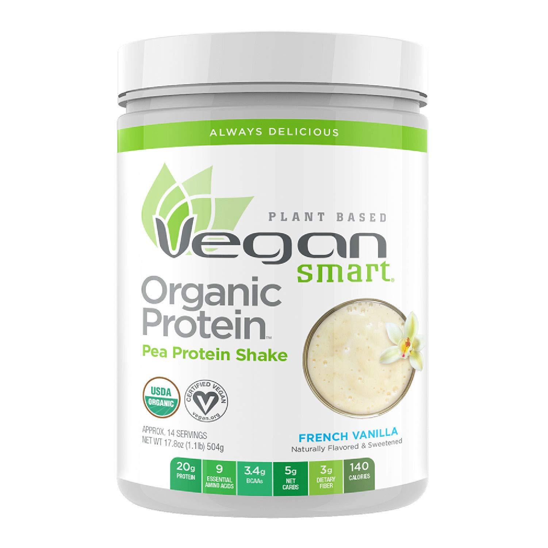 Vegansmart Plant Based Organic Pea Protein Powder by Naturade - French Vanilla (14 Servings)