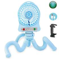 Portable Stroller Fan Mini Handheld Fan with Flexible Tripod Twine on Baby Stroller/Student Bed/Bike, Small Fan for Office Room Car Traveling BBQ Gym, USB and Battery Powered, 3 Speeds (Sky blue)