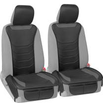 Motor Trend LuxeFit Gray Faux Leather Car Seat Cover for Front Seats, 2 Piece Set – Padded Universal Fit Luxury Cover, Faux Leather Sideless Protector for Car Truck Van & SUV
