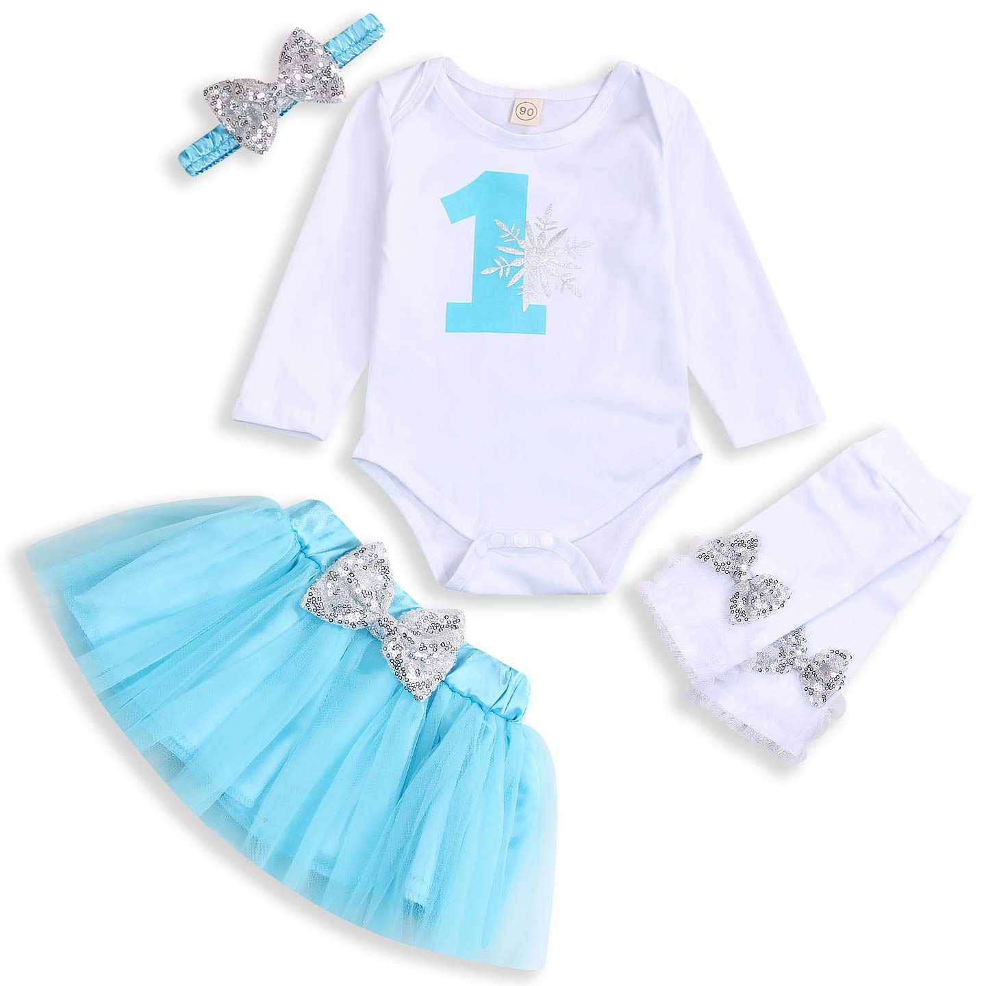 Baby Girl One Birthday Skirts Set Toddler Snowflake Romper+Blue Tutu Skirt+Bow Headband+Sequin Leg Warmers Outfits