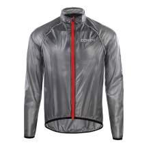 DONEN Men's Waterproof Breathable Jacket Windproof Outdoor Light Rain Coat for Cycling Running(Black XXL)