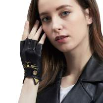 GSG Birthday Gifts Sexy Lady Fingerless Leather Gloves Kitty Half Finger Cosplay Costume