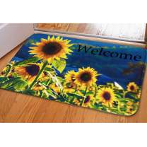Sunflower Welcome Mat Bathroom Rug Kitchen Floor Mat for Holiday Non Slip Flannel Soft Area Rugs