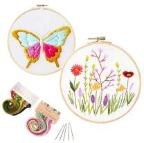 2 Pack Hand Embroidery Starter Kit with Patterns,Stamped Cross-Stitch with Embroidery Hoop,Color Threads Tools Kit Needles (Butterfly Plants)