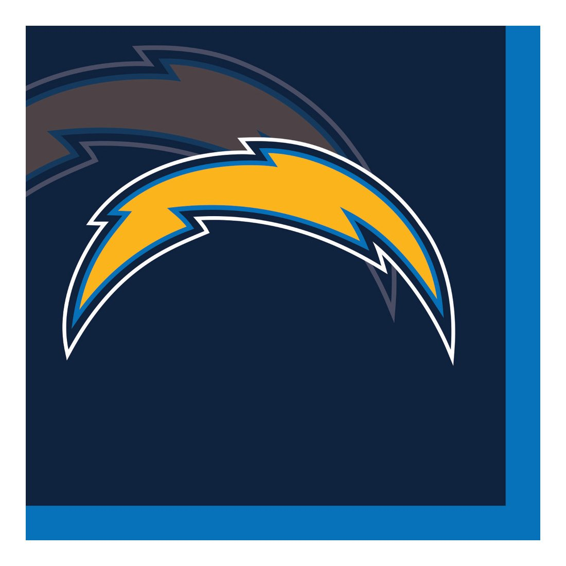 Creative Converting Officially Licensed NFL Paper Beverage Napkins, 192-Count, L.os Angeles Chargers