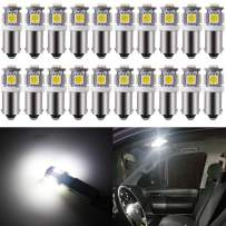 BlyilyB - Pack of 20 - White BA9S T11 T4W 64111 Miniature Bayonet Single Contact Base LED Bulbs 5SMD 5050 For Side Marker Lights RV and Boat Dome Lights Map Lights License Plate Light