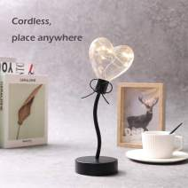 "JHY Design Heart Bulb Decorative Lamp Battery Operated 11.5"" Tall Cordless Accent Light for Wedding Parties (Black Single Heart)"