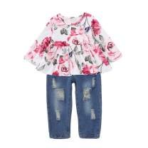Girls Clothes Outfits, Cute Baby Girl Floral Long Sleeve Pant Set Flower Ruffle Top Outfits for Fall