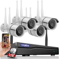 【8CH Expandable】 Security Camera System Wireless, 8 Channel 5MP NVR with 1TB Hard Drive, 4Pcs 5MP CCTV Cameras for Home,OHWOAI Surveillance Video Security System,Outdoor IP Cameras with Audio