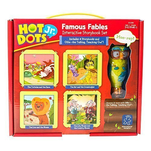 Educational Insights Hot Dots Jr. Famous Fables Storybooks, 4 Books & Interactive Pen, Homeschool, Early Learning Activities for Ages 3+