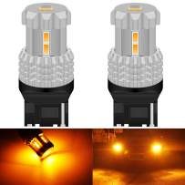 KATUR 7440 7440NA 7441 992 WY21W LED Bulbs High Power 12pcs 3020SMD Chipsets Extremely Bright 2800 Lumens Used for Turn Signal Light, Tail Light, Amber Yellow (Pack of 2)