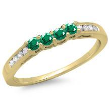 14K Gold Round Emerald & Diamond Ladies Bridal Anniversary Wedding Band Ring