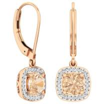 Dazzlingrock Collection 18K 6 MM Each Round Gemstone & White Diamond Ladies Halo Style Dangling Drop Earrings, Rose Gold