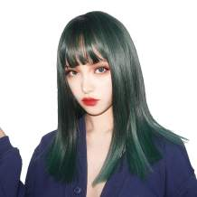 aiyaya Long Mixed Color Wigs Bangs - Natural Synthetic Hair Lolita Wig with Wig Cap for Women Cosplay and Daily Wear (Green Black Mixed)