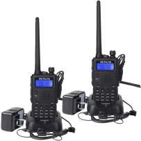 Retevis RT5 Dual Band Two Way Radio VHF UHF High Power Long Range Ham Police Handheld Radio FM Scan VOX 2 Way Radio with Earpiece(2 Pack)