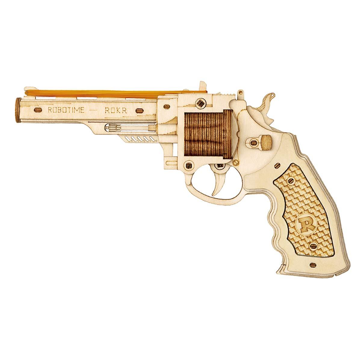 RoWood 3D Wooden Puzzle Toy Gun Model Kit, Rubber Band Gun Gift for Kids & Teens Boys Girls - Corsac M60