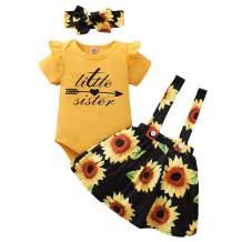 AMAWMW Baby Girls Little Sister Romper Bodysuit Sunflower Suspender Skirt Headband 3PCs