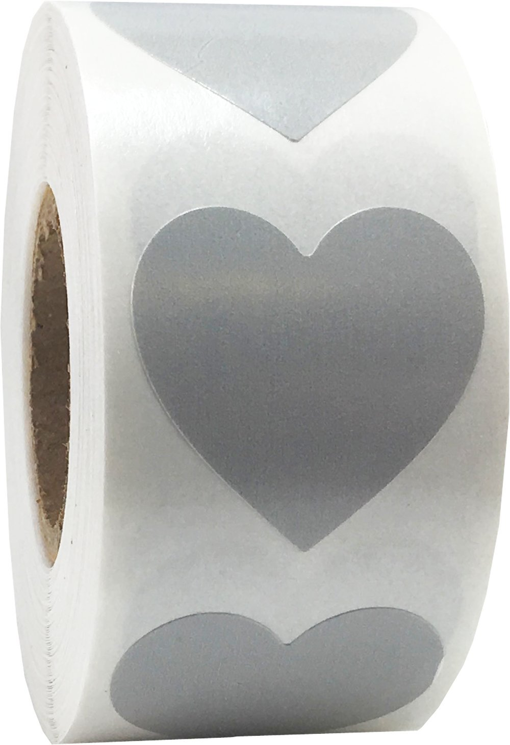 Grey Heart Stickers Valentine's Day Crafting Scrapbooking 1 Inch 500 Adhesive Stickers
