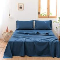 Simple&Opulence Belgian Linen Sheet Set Solid Color - 4 Pieces (1 Flat Sheet & 1 Fitted Sheet & 2 Pillowcases) Natural Flax Cotton Blend Soft Bedding Breathable Farmhouse - Classic Blue, King Size