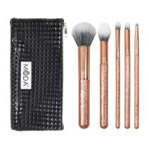 Royal & Langnickel MODA Full Size Crackle 6pc Makeup Brush Set with Pouch Includes - Multi-Purpose Powder, Contour, Eye Shader, Smoky Eye, and Angle Liner, Rose Gold
