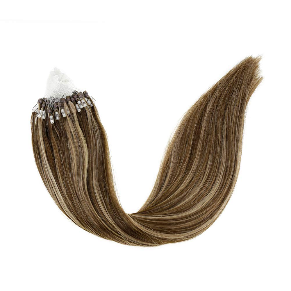 """LaaVoo 22"""" Highlights Micro Beads Remy Loop Hair Extensions Color Dark Brown Mixed Caramel Blonde Straight Long Healthy Real Human Hair Cold Fusion Extension For Girls 1g/s 50g Per Package"""