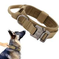 Tactical Dog Collar Military Dog Collar Adjustable Nylon Dog Collar Heavy Duty Metal Buckle with Handle for Dog Training ( Brown ,XL )